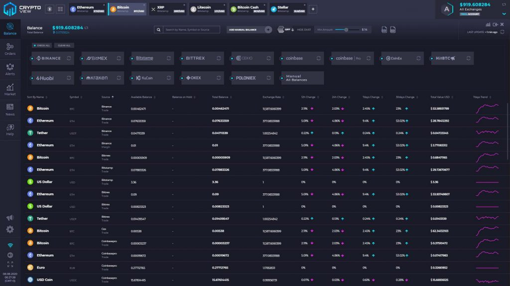 CryptoView cryptocurrency portfolio manager